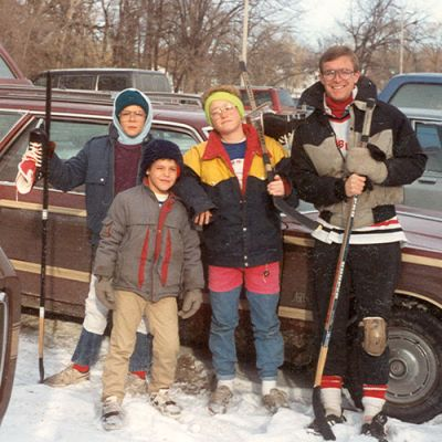 Me and my brothers (Joel's missing) at the NIU pond for hockey in the late 80s.